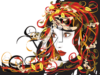 Art colorful illustration of woman face with autumn floral.