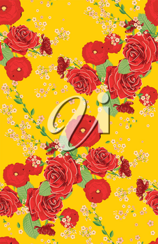 Romantic decorative ornament with red roses and poppies, floral illustration.