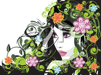 Fashion summer girl, female portrait with decorative floral ornament.
