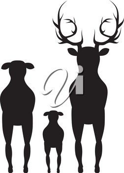Abstract black silhouette of a stylized cartoon deer.