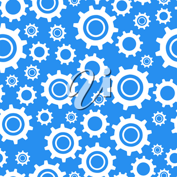 A lot of different types cogwheel, white icons on blue background seamless pattern