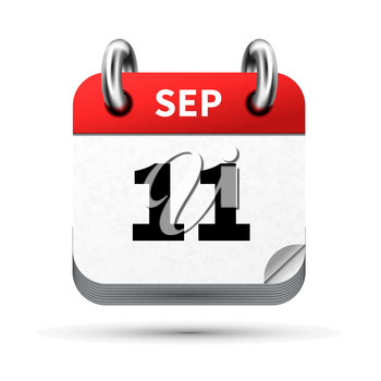 Bright realistic icon of calendar with 11 september date on white