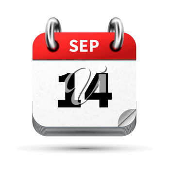 Bright realistic icon of calendar with 14 september date on white