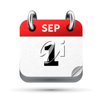 Bright realistic icon of calendar with 1st september date on white