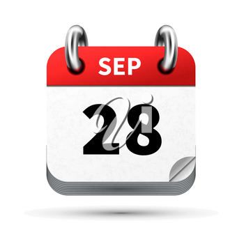 Bright realistic icon of calendar with 28 september date on white