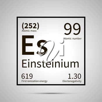 Einsteinium chemical element with first ionization energy, atomic mass and electronegativity values ,simple black icon with shadow on gray