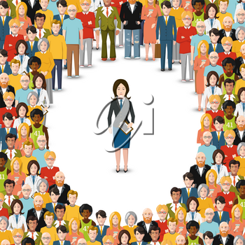 Woman stayed in crowd, conceptual flat illustration