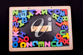 Back to school andColorful Letters of Alphabet made of wood