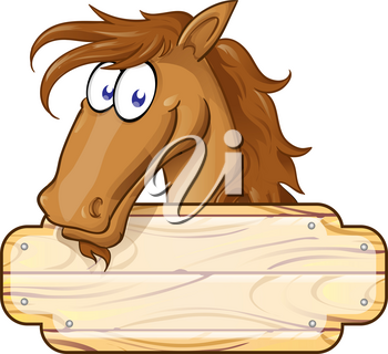 Happy Cartoon Horse mascot  With A Blank Sign.vector illustration