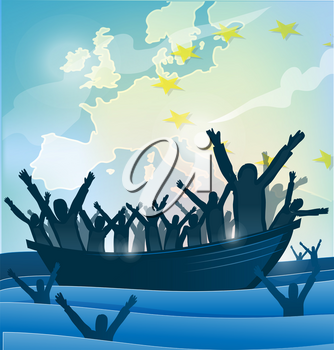 immigration people with  the boat on european map
