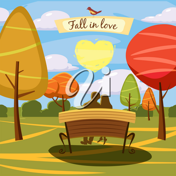 Autumn landscape, bench, lovely couple. heart, trees and fall leaves, similar, vector illustration cartoon style