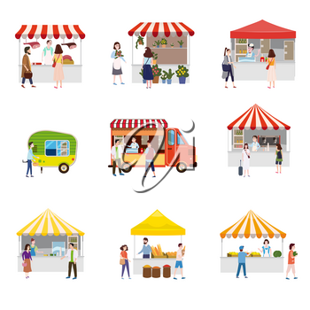 Set outdoor street food festival canopy tent pavilion shopping stall kiosk