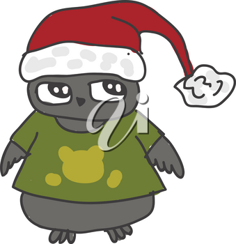 A cartoon of a gray owl wearing a green tshirt and a Santa Claus hat vector color drawing or illustration