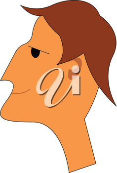 Portrait of a young man with brown hair vector color drawing or illustration