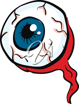 A single eyeball with blue pupils and visible nerves with a red optic nerve leaving the eye vector color drawing or illustration