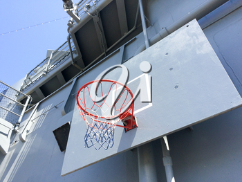 Basketball hoop and net navy recreation on USS Iowa naval warship destroyer battleship