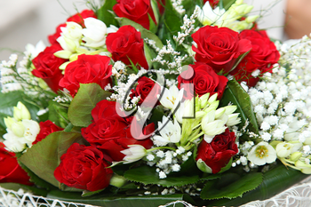 Close up of red roses bouquet flowers.