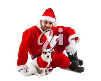 Santa Claus with his little dog on white background