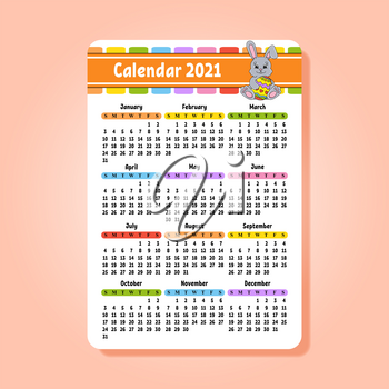 Calendar for 2020 with a cute character. Easter rabbit. Fun and bright design. Isolated color vector illustration. Pocket size. Cartoon style.