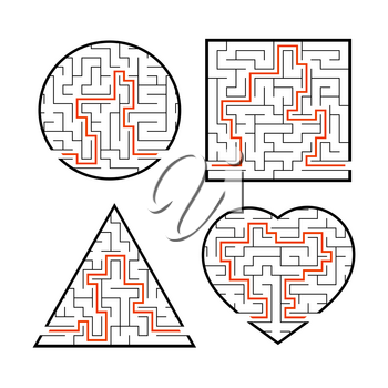A set of mazes. Game for kids. Puzzle for children. Labyrinth conundrum. Find the right path. Vector illustration