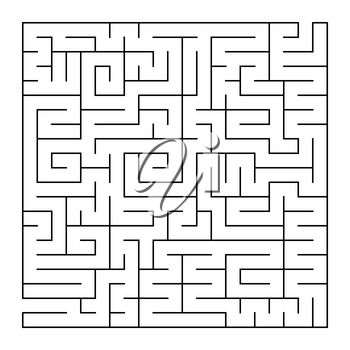 Isolated large labyrinth. Black stroke on a white background. An interesting and useful game for the brain. Simple flat vector illustration.